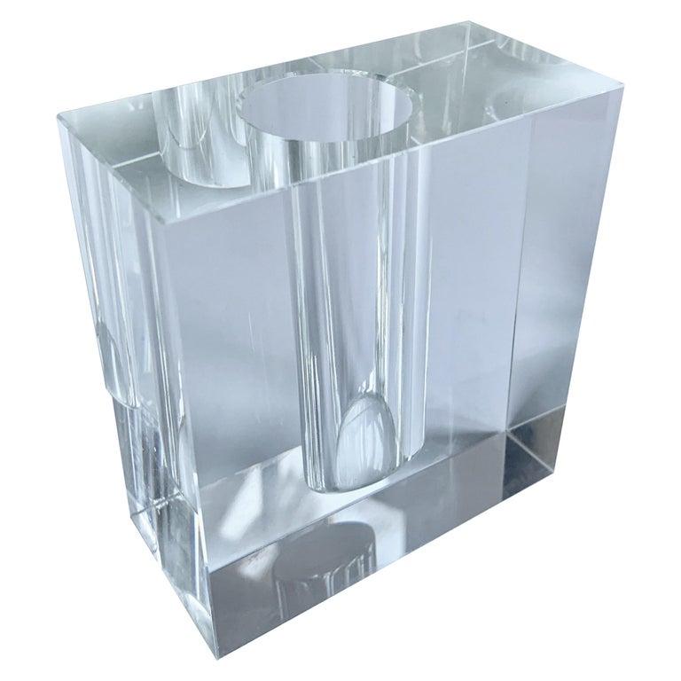 Crystal Block Form Vase For Sale