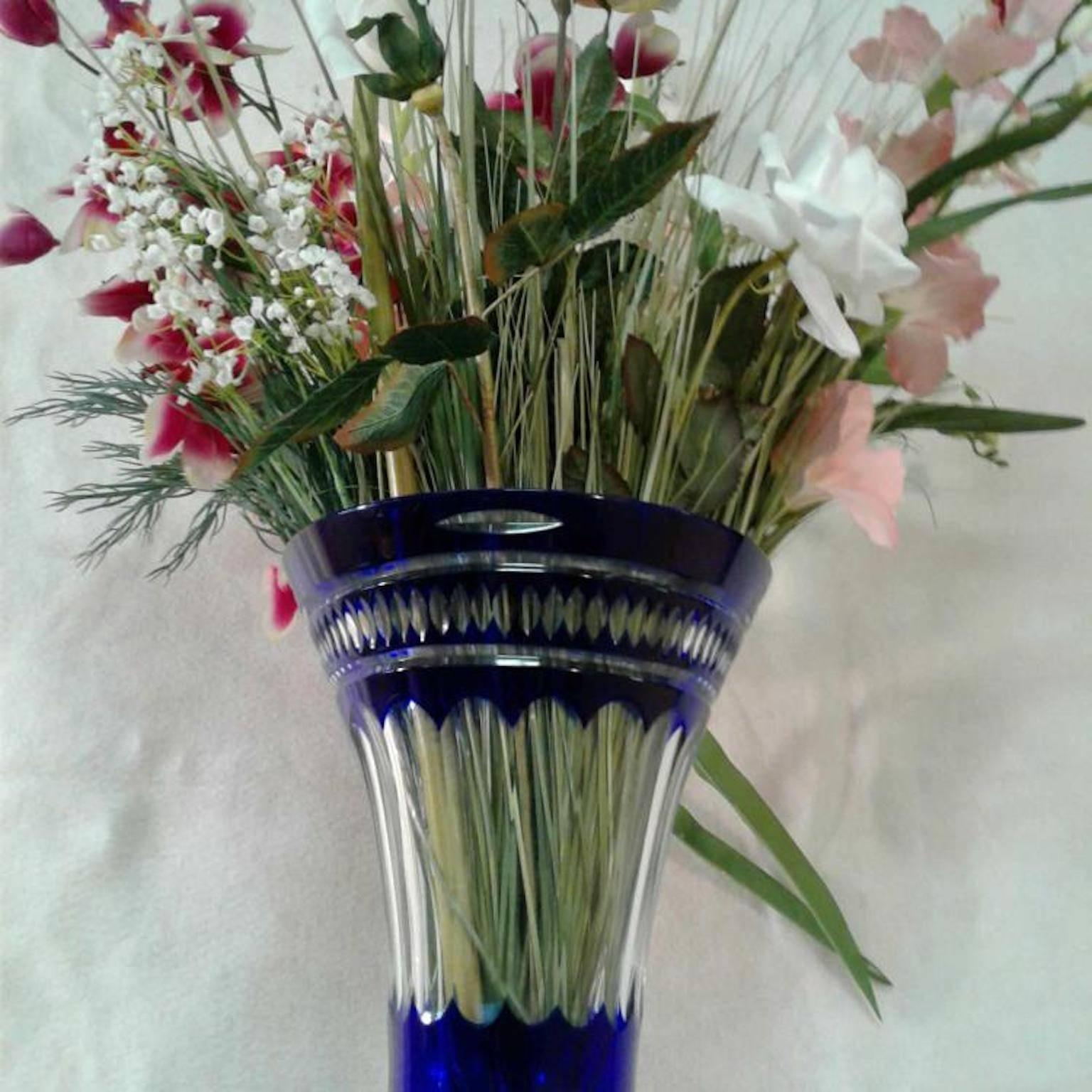 Crystal Blue Vases With Silk Flowers For Sale At 1stdibs