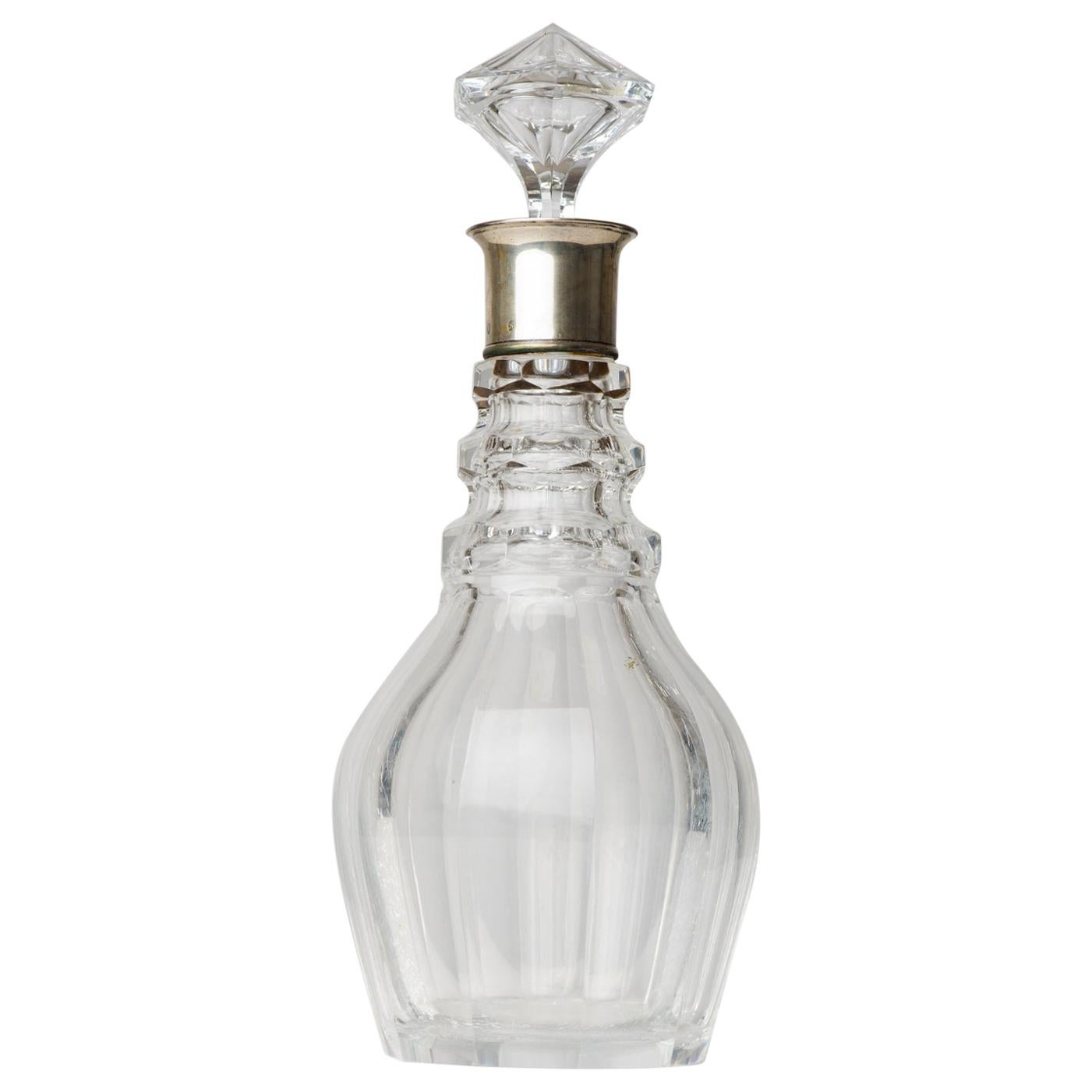 Crystal Bottle Decanter with Silver Neck