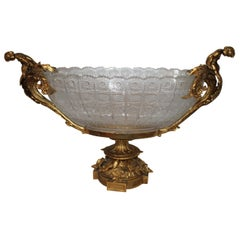 Crystal Bowl, Center Piece, Doré 22-Karat Gold Plate on Bronze Empire Style