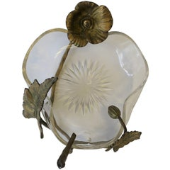 Crystal Bowl with Bronze Gilt Flower and Leaf Design in the Style of Baccarat