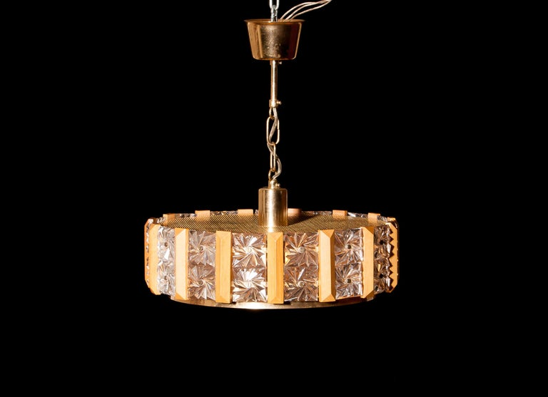 Crystal, Brass And Teak Pendant By Carl Fagerlund For