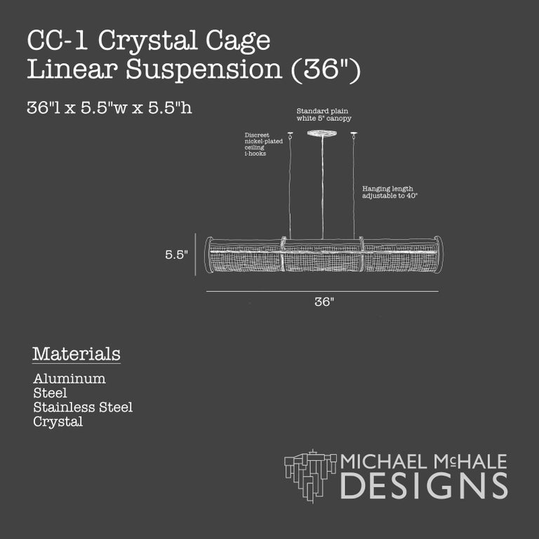 Crystal Cage LED Linear Suspension In New Condition For Sale In Long Island City, NY