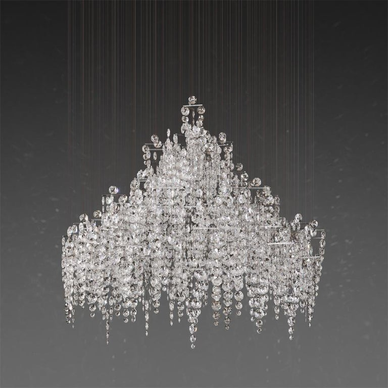English Crystal Candelabra, Contemporary Chandelier Sculpture Eva Menz For Sale