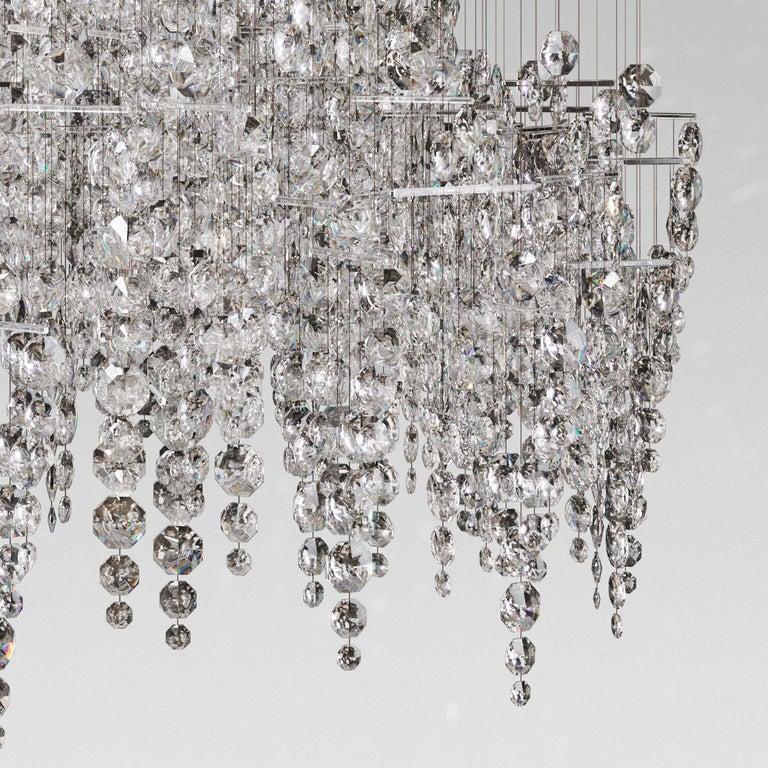 Wire Crystal Candelabra, Contemporary Chandelier Sculpture Eva Menz For Sale