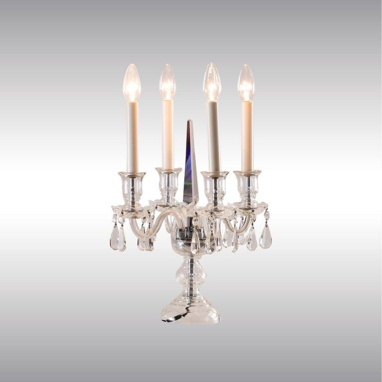 Jugendstil Original Crystal Candelabra Table Lamp Early 20th Century 1905  For Sale