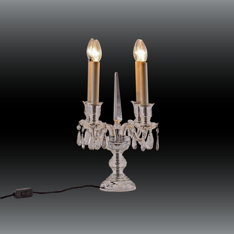 Austrian Original Crystal Candelabra Table Lamp Early 20th Century 1905  For Sale
