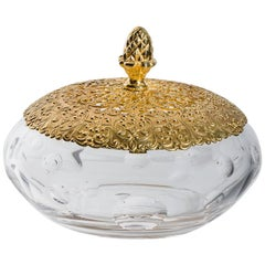 Crystal Candy Box With Bronze Gold -Plated