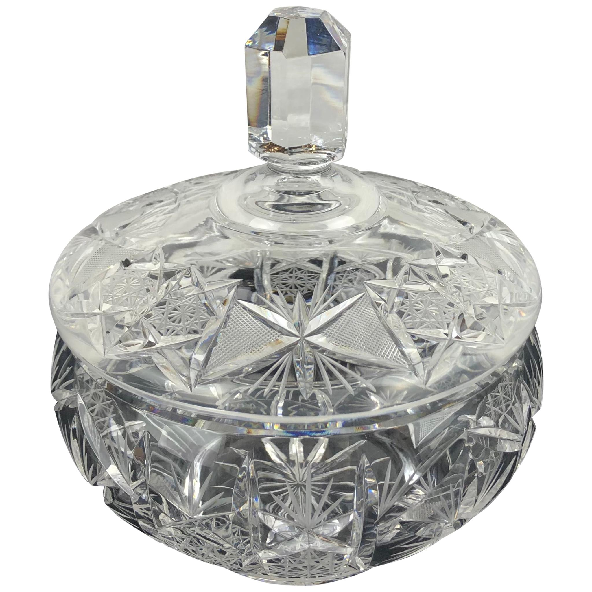Crystal Candy Dish, Trinket or Jewelry Box Attributed to Baccarat