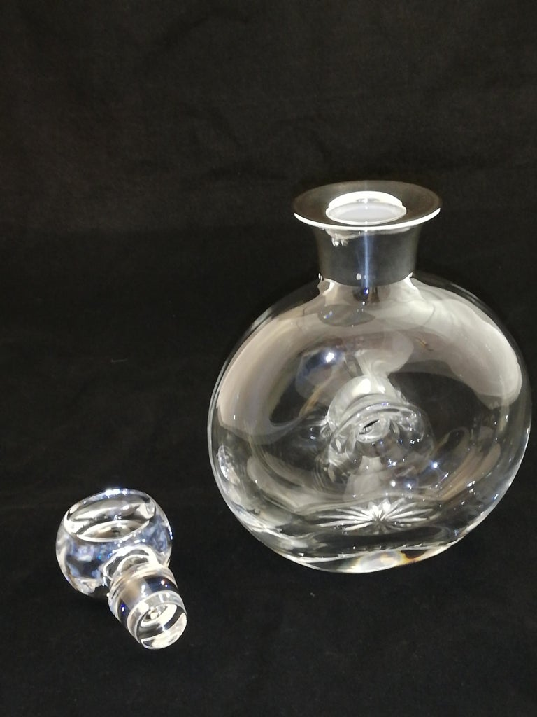 English Crystal Carafe with Sterling Silver Rim For Sale