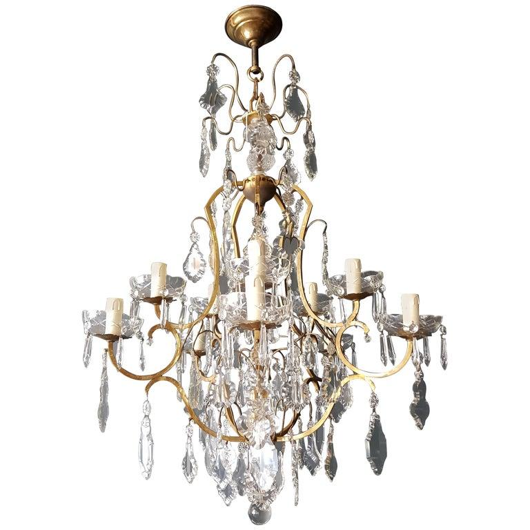 Crystal Chandelier Antique Ceiling Lamp Re Art Nouveau Rarity 1930