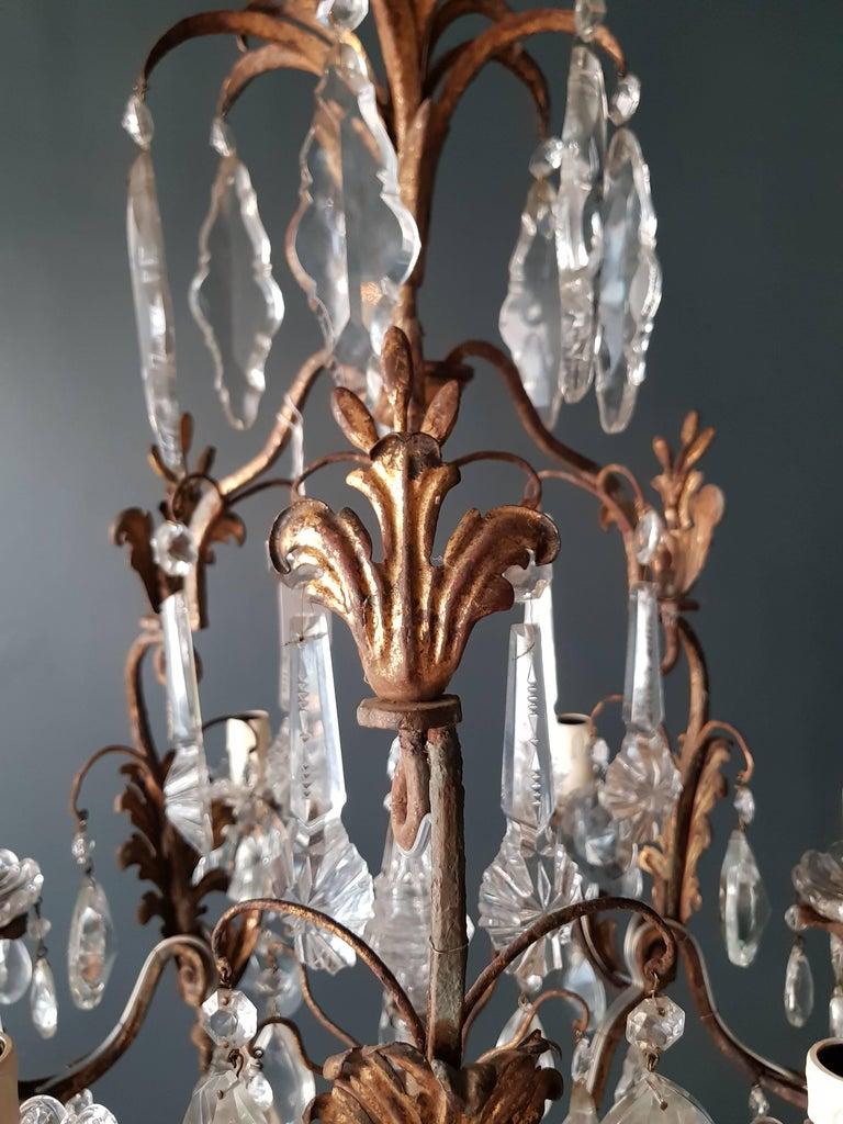 Antiker schwerer Kronleuchter aus Messing und Kristallglas 4