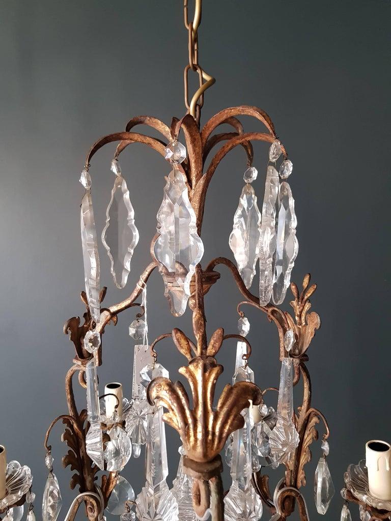 Antiker schwerer Kronleuchter aus Messing und Kristallglas 5