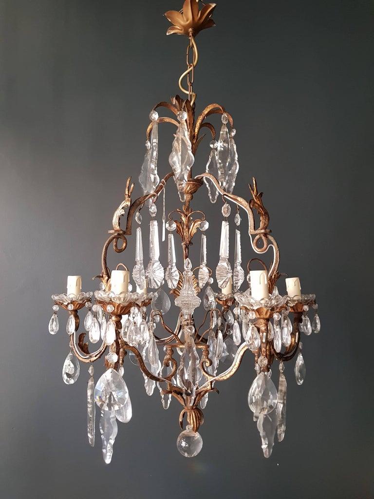 Antiker schwerer Kronleuchter aus Messing und Kristallglas 8
