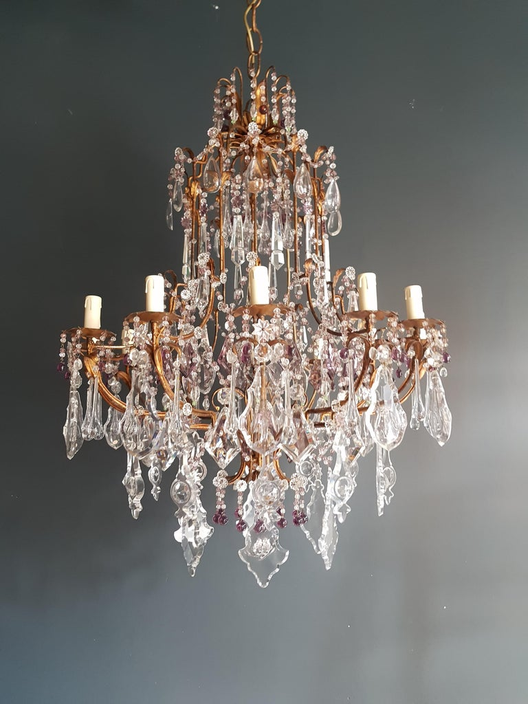 Crystal Chandelier Antique Ceiling Lamp Murano Florentiner Lustre Art Nouveau For Sale 4
