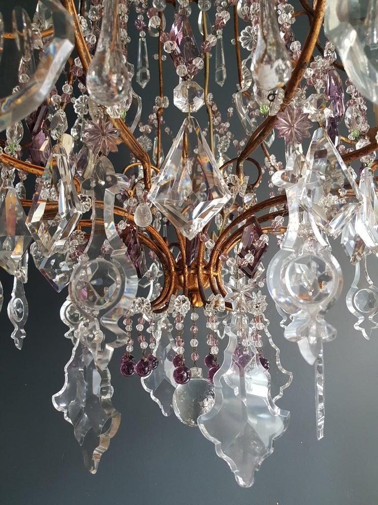 Italian Crystal Chandelier Antique Ceiling Lamp Murano Florentiner Lustre Art Nouveau For Sale