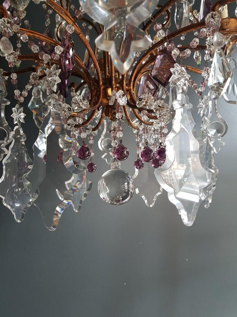 Crystal Chandelier Antique Ceiling Lamp Murano Florentiner Lustre Art Nouveau For Sale 1