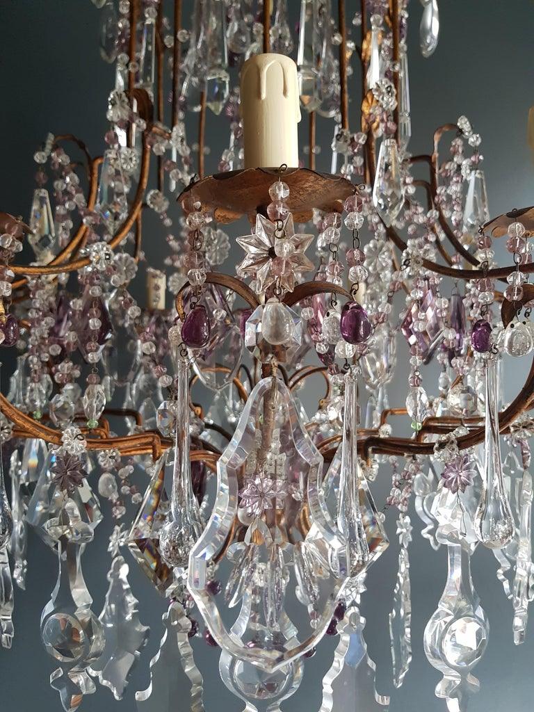 Crystal Chandelier Antique Ceiling Lamp Murano Florentiner Lustre Art Nouveau For Sale 2