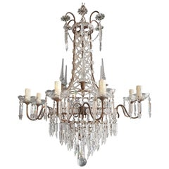 Crystal Chandelier Antique Crystal Lustre Ceiling Lamp Rarity Neoclassical