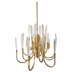Crystal Chandelier  by Gaetano Sciolari 1970s,