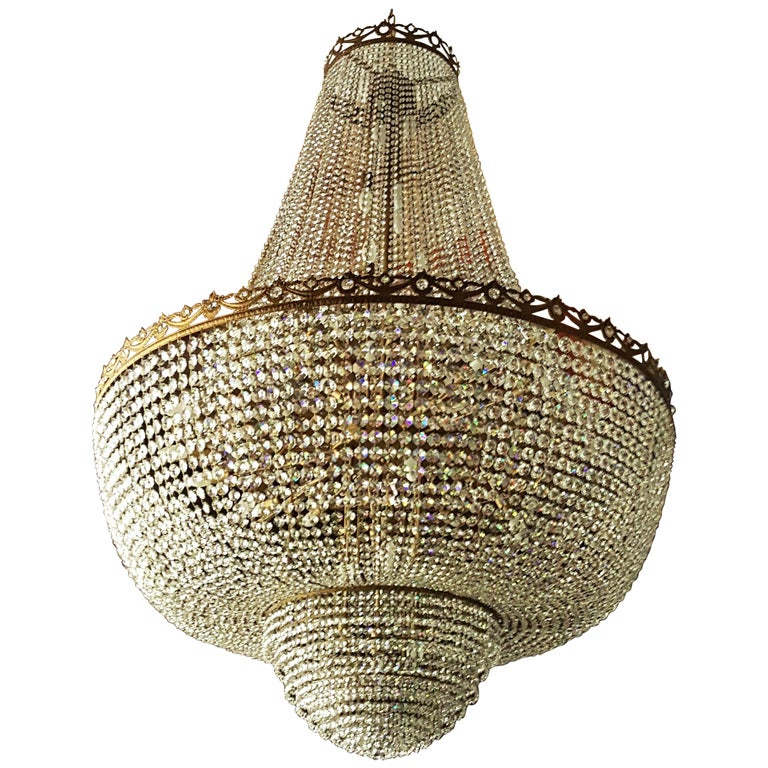 Crystal Chandelier Empire Sac a Pearl Big Large Palace Lamp Chateau Lustre For Sale
