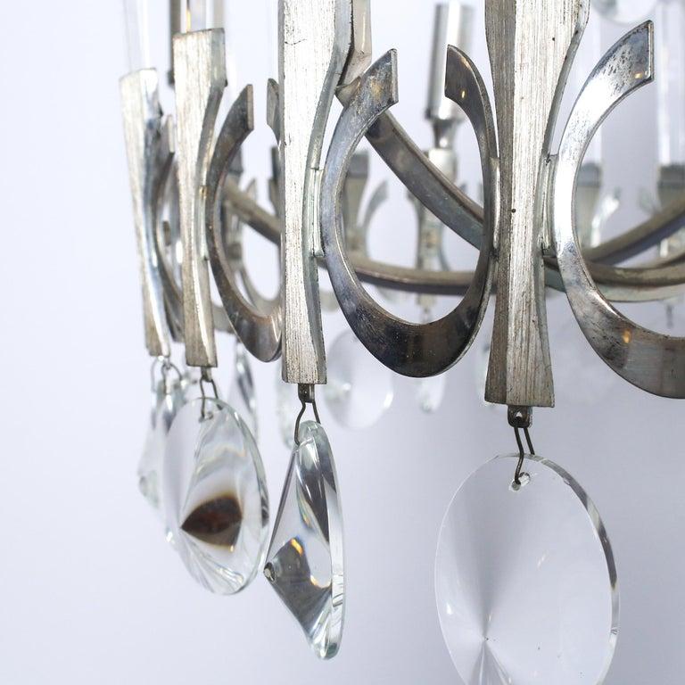 Italian Mid-Century Modern Silver Plated Crystal Chandelier, Gaetano Sciolari Italy 1960 For Sale