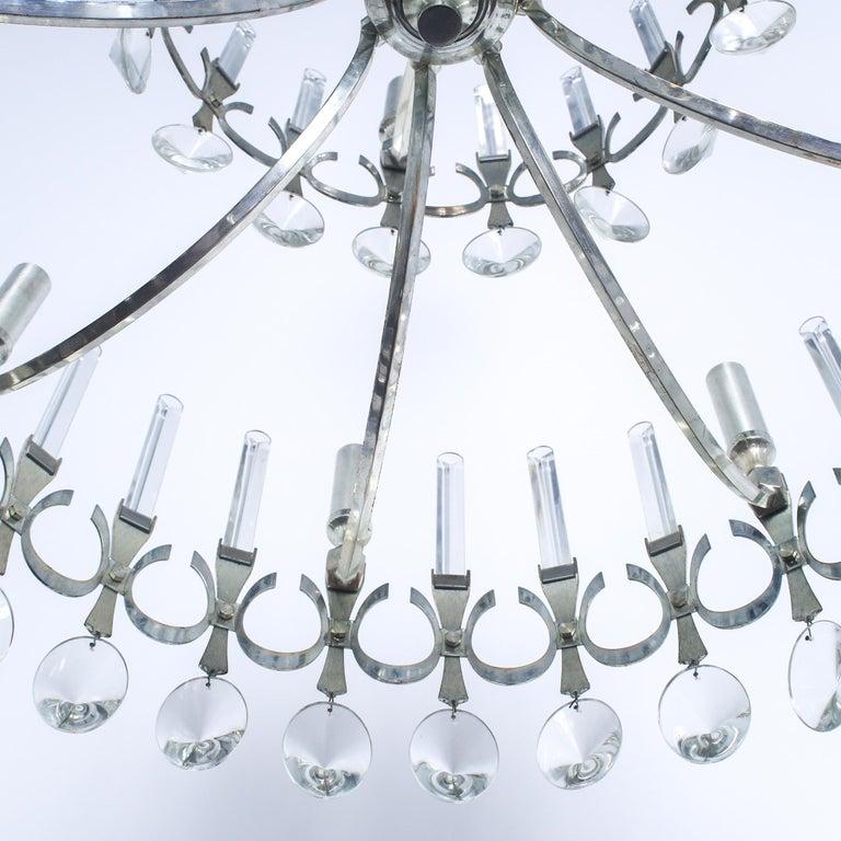 Silvered Mid-Century Modern Silver Plated Crystal Chandelier, Gaetano Sciolari Italy 1960 For Sale