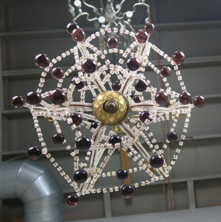 Crystal Chandelier with Aubergine Drops For Sale 3