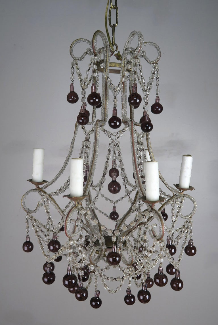 Crystal Chandelier with Aubergine Drops For Sale 4