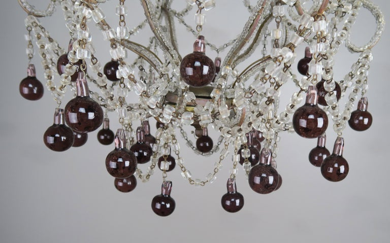 Rococo Crystal Chandelier with Aubergine Drops For Sale