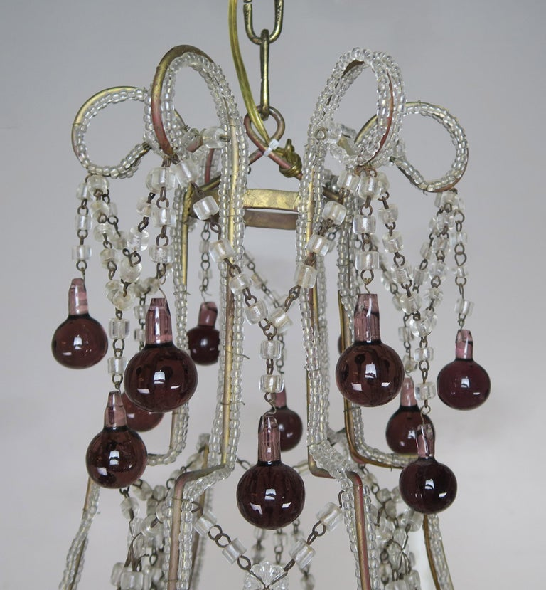 Italian Crystal Chandelier with Aubergine Drops For Sale