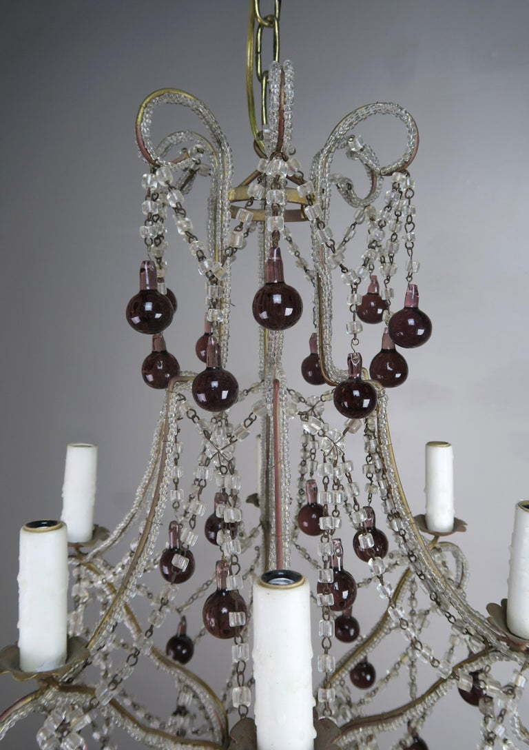 Crystal Chandelier with Aubergine Drops In Good Condition For Sale In Los Angeles, CA