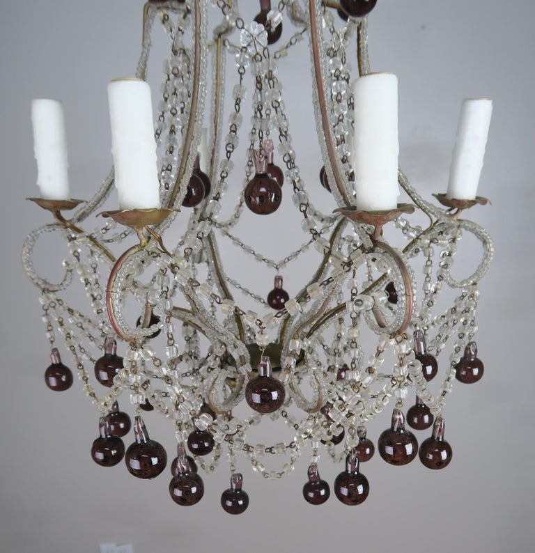 Mid-20th Century Crystal Chandelier with Aubergine Drops For Sale