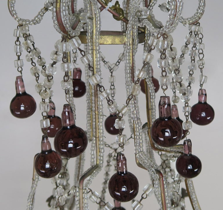 Metal Crystal Chandelier with Aubergine Drops For Sale