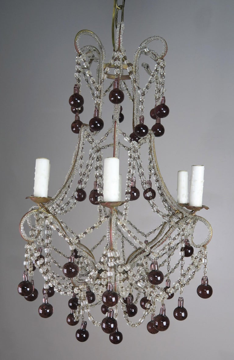 Crystal Chandelier with Aubergine Drops For Sale 2