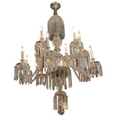Crystal Chandelier with 12 Lights, Scrolling Arms, Large and Superior Condition