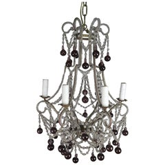 Crystal Chandelier with Aubergine Drops