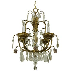 Crystal Chandelier with Four Lights Attributed to Maison Jansen