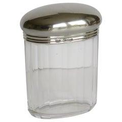 Crystal Cut Glass Bottle or Jar 41gm Sterling Silver Top, W Leuchars London 1881