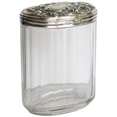 Kristallschliff Glas Flasche oder Glas Kunst Nouveau Silber Top von C J Fox Chester, 1897