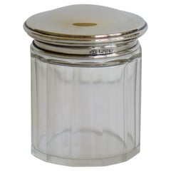 Crystal Cut Glass Jar with Sterling Silver Top by Owen Williams, Chester, 1922