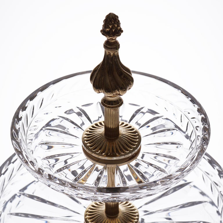 Baroque Crystal Display 3 Plates with Bronze Gold Platted For Sale