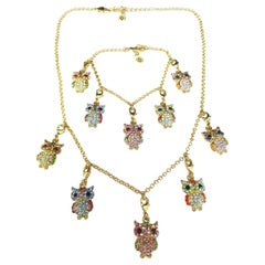 Crystal Encrusted Owl Necklace and Charm Bracelet Butler and Wilson Set