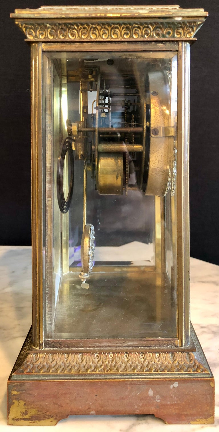 Crystal Face and Pendulum Clock Made by Ansonia Clock of New York For Sale 5