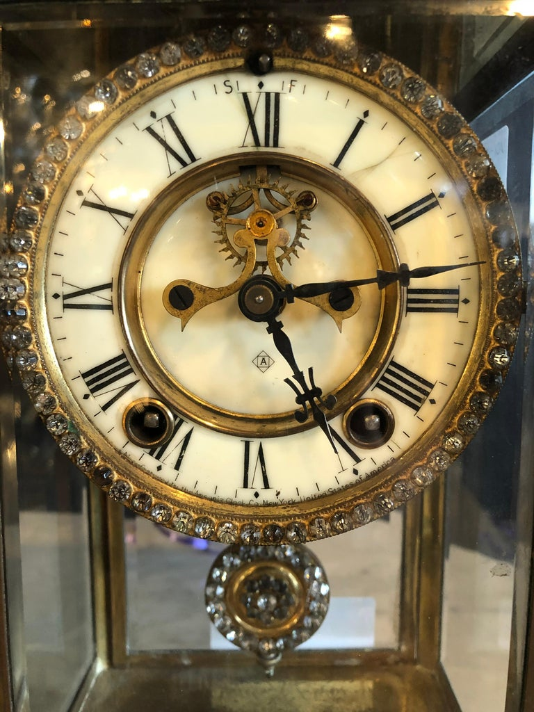 American Classical Crystal Face and Pendulum Clock Made by Ansonia Clock of New York For Sale