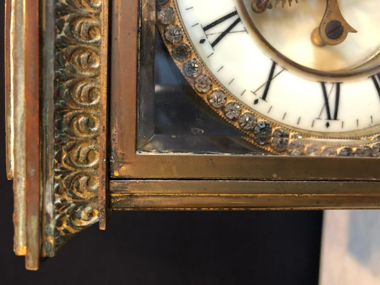 Brass Crystal Face and Pendulum Clock Made by Ansonia Clock of New York For Sale