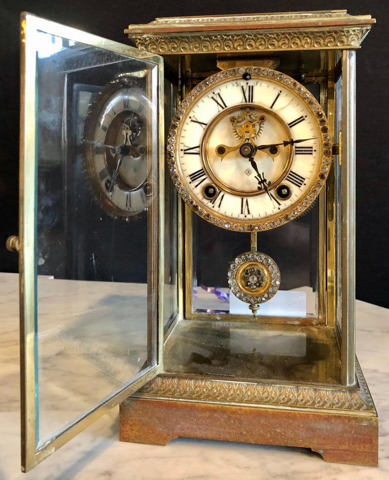 Crystal Face and Pendulum Clock Made by Ansonia Clock of New York For Sale 3