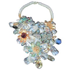 Crystal Flowers and Wrapped Wire Collar Bib Statement Necklace