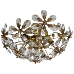 Crystal Flowers Glass Flush mount by Palwa Germany, Midcentury, German, 1960s