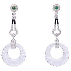 Crystal Flute Diamond Art Deco Earring